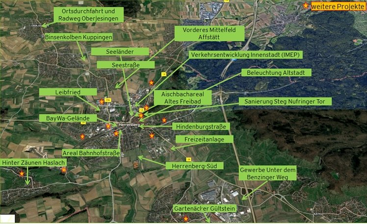 Volle Landkarte: Die laufenden und anstehenden Projekte der Herrenberger Stadtverwaltung  GB-Foto: gb