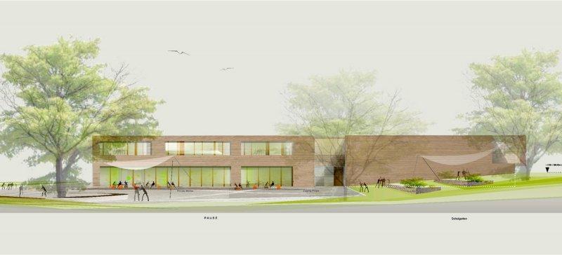 Die Südansicht der geplanten Grundschule in Altingen  GB-Repro