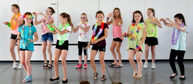 Ein bunter Tanz: Vorführung beim Schulfest der Gärtringer Ludwig-Uhland-Schule  GB-Foto: Holom